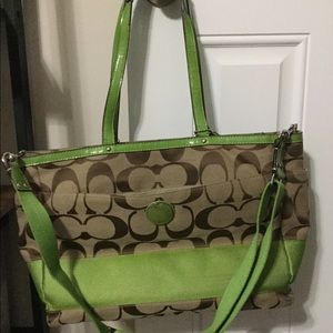 Coach F19473 Green & Light Khaki Diaper Bag $398.